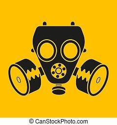 maschera, vettore, disegno, desktop., chimico, web, icona, gas, attack.