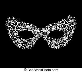 mascherata, vettore, maschera, openwork