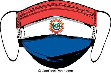 maschere, bianco, bandiera paraguay, medico, faccia, isolato