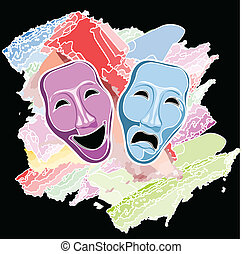 maschere, commedia, tragedia, teatro