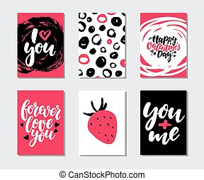 mascherine, amore, regalo, printable, set., valentines, quotes., mano, vettore, scheda, disegnato, giorno, iscrizione, struttura