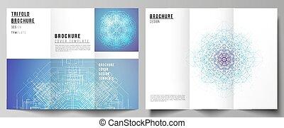 mascherine, comunicazione, moderno, coperchi, disegno, visualizzazione, flyer., creativo, geometrico, minimo, punti, grande, illustrazione, collegato, fondo, opuscolo, layouts., dati, trifold, linee, vettore, o