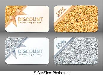 mascherine, dorato, set, scontare, cartelle, bianco, brillare, argento