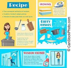 mascherine, lavori domestici, vettore, lavaggio, pulizia