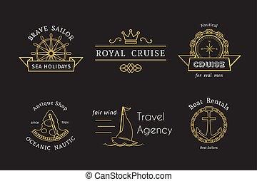 mascherine, logotipo, vettore, retro, nautico