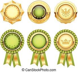 mascherine, oro, araldico, premio, verde, medaglia, rosette