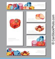 mascherine, regalo, festivo, boxes., augurio, advertisement., luminoso, disegno, cartelle