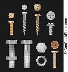 mascherine, riparazione, tools., bulloni, isolato, metallico, hardware, realistico, vettore, screws., costruzione, argento
