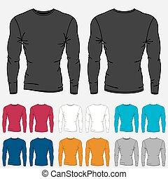 mascherine, set, colorato, manica, uomini, lungo, camicie