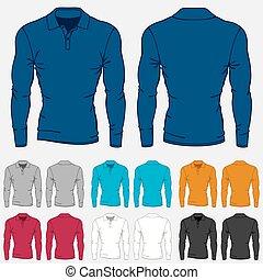 mascherine, set, colorato, manica, uomini, lungo, polo-shirts