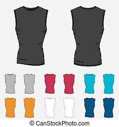 mascherine, set, colorato, sleeveless, uomini, camicie
