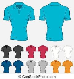 mascherine, set, colorato, uomini, polo-shirts