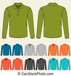 mascherine, set, colorato, uomini, polo, t-shirts
