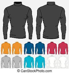 mascherine, set, colorato, uomini, turtleneck, camicie