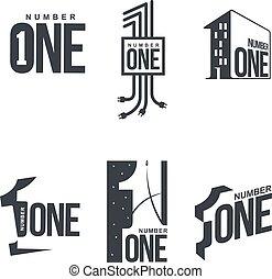 mascherine, set, numero, nero, logotipo, bianco