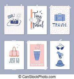 mascherine, set, viaggiare, illustrazioni, lettering., scheda