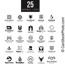 mascherine, simboli, differente, set, grande, marca, temi, disegno, collection., logotipo, bianco, minimo, nero