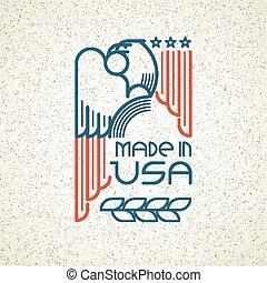 mascherine, simbolo, emblems., americano, illustrazione, stati uniti, aquila, vettore, bandiera, fatto