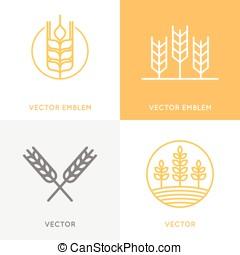 mascherine, stile, set, lineare, vettore, disegno, trendy, logotipo