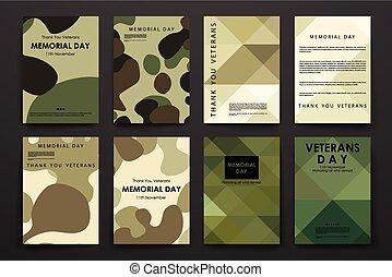 mascherine, stile, set, manifesto, disegno, opuscolo, giorno veterani