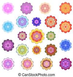 mascherine, stilizzato, luminoso, fiori, colorato