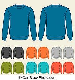 mascherine, sweatshirts, set, colorato, uomini