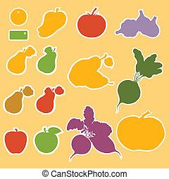 mascherine, verdura, etichette, frutte