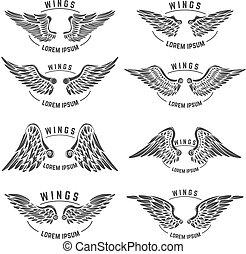 mascherine, wings., set, emblema, vendemmia, elementi, disegno