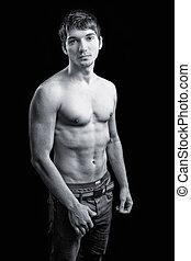 maschile, corpo, tipo, shirtless, sexy