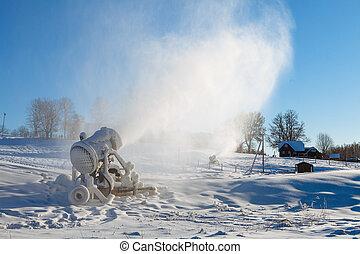 maschine, für, künstlich, schnee, an, a, fahren ski zuflucht