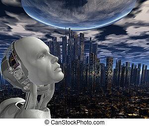 maschine, intelligenz, android, kybernetisch
