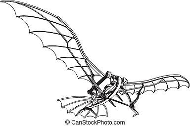 maschine, leonardo, fliegendes, drachenflieger