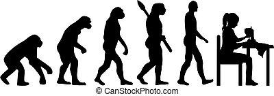 maschine, m�dchen, nähen, evolutionsphasen