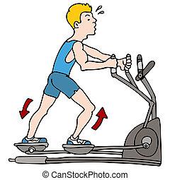 maschine, mann- trainieren, elliptisch