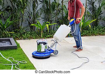 Maschine arbeiter putzen kaufmannsladen boden laden for Boden putzen