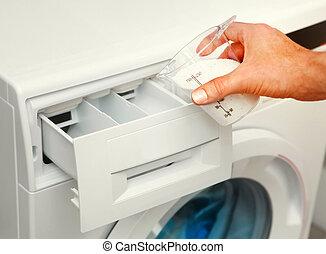 maschine, reinigungsmittel, wäsche