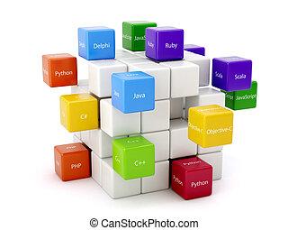 maschine, verschieden, code, bunte, concept.,...