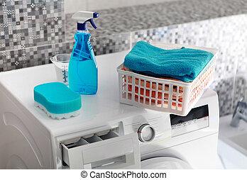 maschine, wäscherei, waschpulver