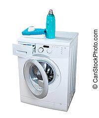 maschine, wäscherei, waschpulver, washing.