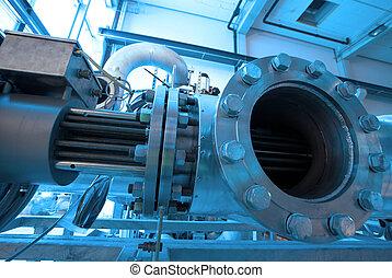 maschinerie, schläuche, dampf, macht, turbine, leitungsrohre...