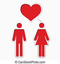 maschio, amare, con, femmina
