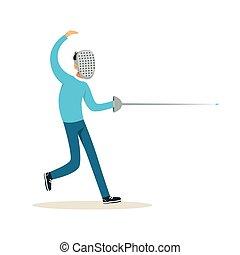maschio, attivo, scherma, atleta, carattere, illustrazione, vettore, modo vivere attivo, sport, spada