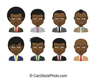 maschio, avatar, cartone animato, set