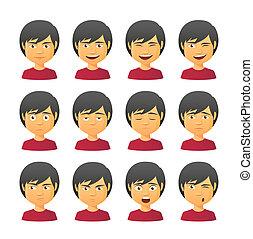 maschio, avatar, espressione, set