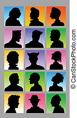 maschio, avatar, silhouette