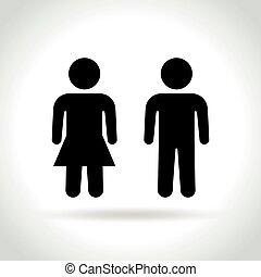 maschio bianco, femmina, fondo, icone