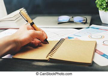 maschio, blocco note, scrittura mano