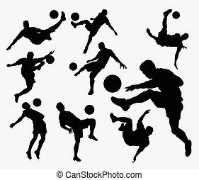 maschio, calcio, sport, silhouette