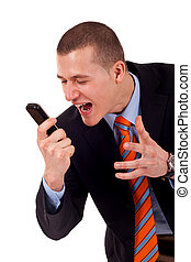 maschio, cellphone, berciare