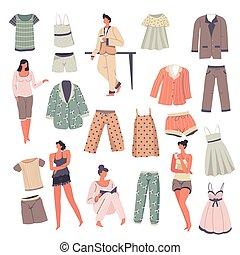 maschio, collezione, sleepwear, set, pigiama, femmina